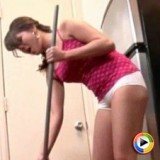 Watch Shyla strip and clean the kitchen naked